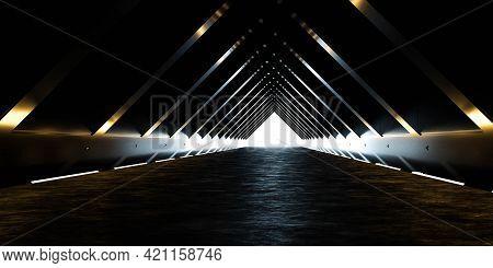 Dark Black Abstract Hallway Tunnel With Bright Back Lighting 3d Render Illustration