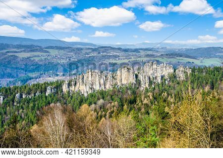 Dry Rocks, Czech: Suche Skaly, In Bohemian Paradise. Panoramic View On Sunny Spring Day. Czech Repub