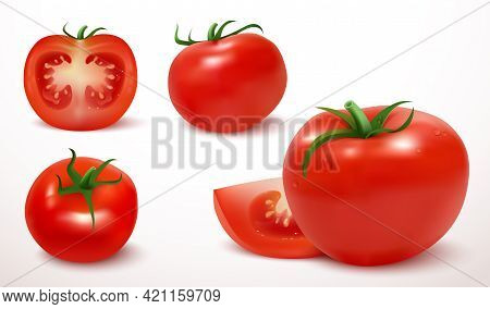 Realistic Red Tomato In 3d Style. Fresh Ripe Whole And Cut Tomatoes Isolated On White Background. Cl