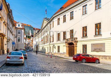 Prague, Czech Republic - April 17, 2020: Entrance To Lower House Of Czech Parliament - Chamber Of De