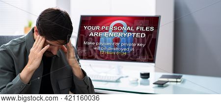 Ransomware Malware Attack. Business Computer Hacked. Data Breach