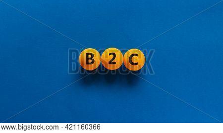 B2c, Business To Customer Symbol. Orange Table Tennis Balls With Word 'b2c, Business To Customer'. B