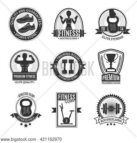 Fitness Hall Athletic Club Elite Gym Training Room And Sports Store Black And White Badges Set Isola