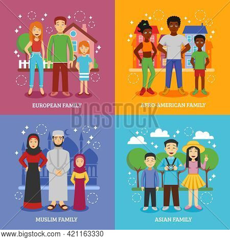 National Families Icons Set With European Afro-american Muslim And Asian Nationalities Flat Isolated