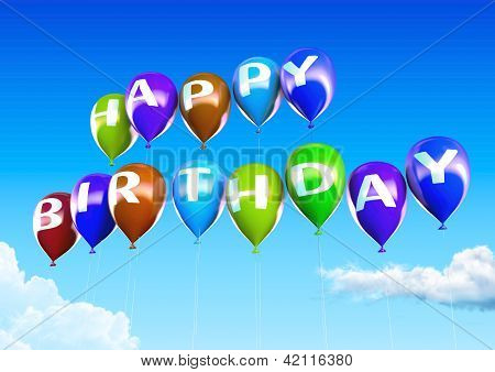 Colorful Happy Birthday Balloons On Blue Sky Illustration