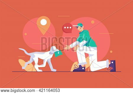 Dog Brings Letter To Owner Vector Illustration. Good Domestic Dog Carry Correspondence Flat Style. S