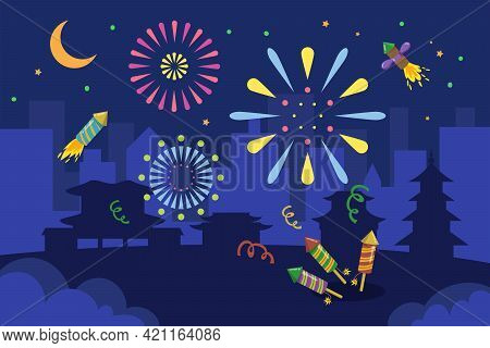 Colorful Fireworks In Asian City At Night. Firecrackers, Confetti, Pagodas, Silhouette Of City And B