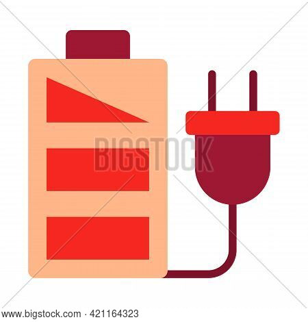 Vector Illustration Of Electric Plugs With Battery Storage. Symbol Of Energy Saver. Green Energy Sym