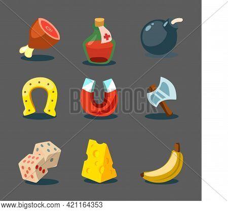 Vector Illustration Of Game In Cartoon Style. Isolated Icons Set Meat, Potion Bottle, Bomb, Horsesho