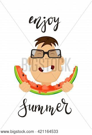 Head Of Man Eating Watermelon. Happy Boy Isolated On White Background. Illustration Can Be Used For