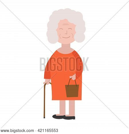 Granny In A Red Dress With A Stick In A Flat Style For Print Or Web Design