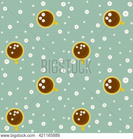 Pattern With Chamomile Tea Cups And Chamomile Flowers. Vector Illustration