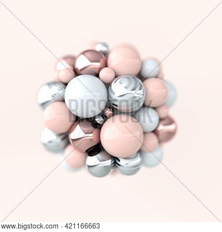 Colorful Balls 3d Rendering. Chaotic Spheres Geometric Abstract Background, Primitive Shapes, Minima