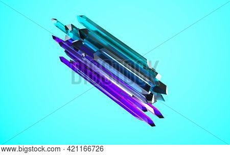 Purple And Green Gem Faceted Nugget Crystal 3d Rendering. Translucent Crystal, Esoteric Object On Pi