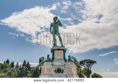 David Statue at Piazzale Michelangelo (Michelangelo Square) built in 1869 and designed by architect Giuseppe Poggi on a hill just south of the historic center on the left bank of the Arno river in Florence Italy poster