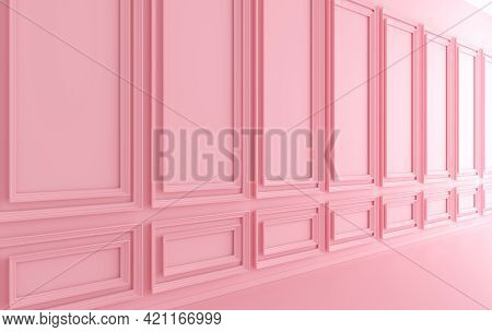 Classic Interior Walls With Copy Space. Walls With Ornated Mouldings Panels And Wooden Floor, Classi