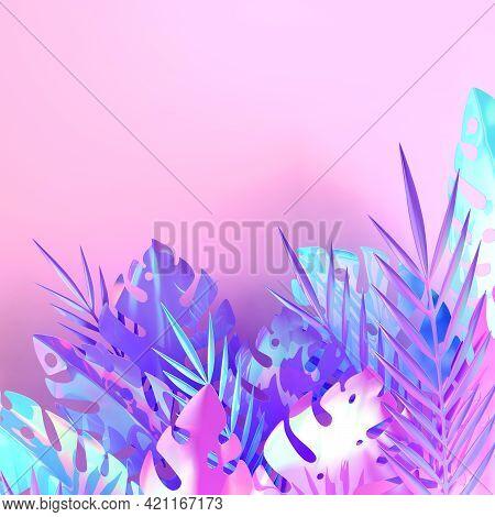 Tropical Iridescent Palm Leaves Frame. Summer Tropical Leaf. Origami Exotic Hawaiian Jungle Foliage,
