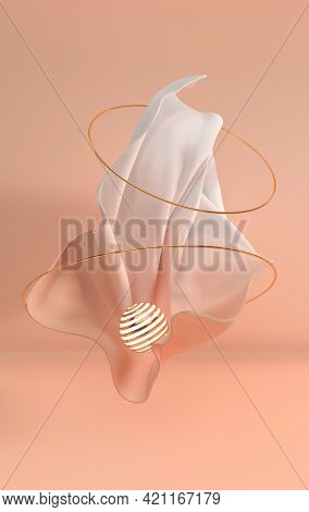 Luxury Soft Textile Fabric In Motion With Golden Metall Luminous Sphere And Rings 3d Render. Pastel