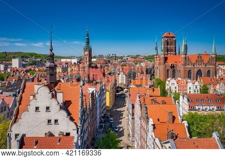Beautiful architecture of the old town in Gdansk at summer. Poland