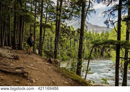Hiker Looking Out Over Mcdonald Creek In Glacier National Park