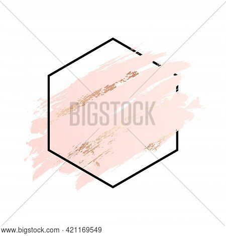 Rose And Pink Background Stroke Polygon Frame. Vector Gold Pink Brush Makeup Beauty Abstract Geometr