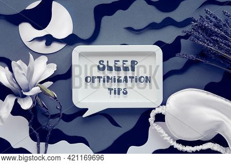 Dry Lavender Flowers. Night Sky With Clouds And Moon, Paper Art. White Silk Sleep Mask, Magnolia Flo