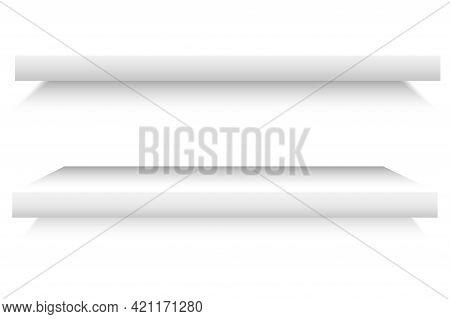 White Shelves. White Empty Room. Interior Design. Graphic Design. Front View. Stock Image. Vector Il