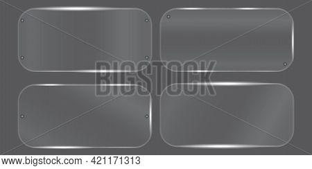 Transparent Plate. Plexiglass Plate. Glass Plate. Transparent Surface. Vector Illustration. Stock Im