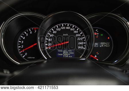 Novosibirsk, Russia - May 16, 2021: Nissan Murano, Speedometer, Tachometer And Steering Wheel Speedo
