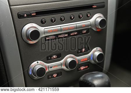 Novosibirsk, Russia - May 16, 2021: Nissan Murano, Black Detail With The Air Conditioning Button, Th