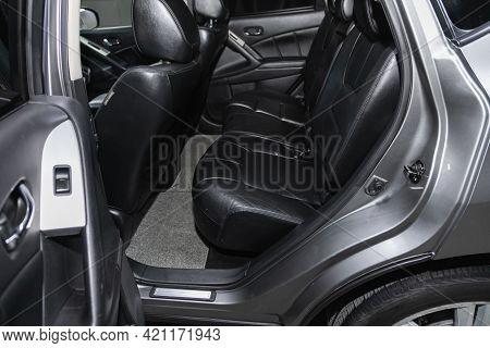 Novosibirsk, Russia - May 16, 2021: Nissan Murano, Comfort Car Inside. Clean Car Interior: Black Bac