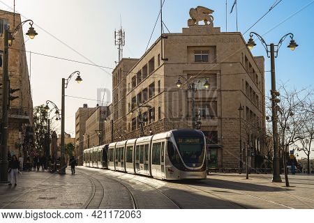 March 13, 2019: Red Line Of Jerusalem Light Rail, A Light Rail System In Jerusalem, Israel. Its Cons
