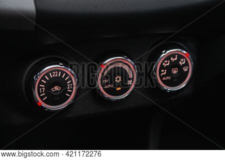 Novosibirsk, Russia - May 16, 2021: Mitsubishi Outlander, Black Detail With The Air Conditioning But