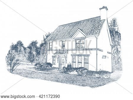 Illustration of rural house and copy space on white background. home and writing space concept digitally generated image.