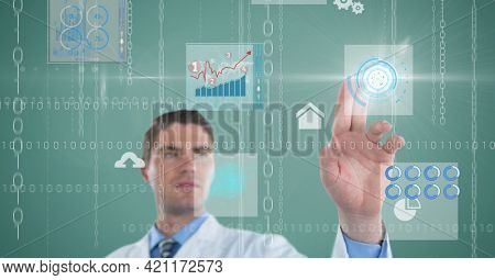 Composition of male doctor touching screen with binary coding and medical data processing. global medicine and healthcare concept digitally generated image.