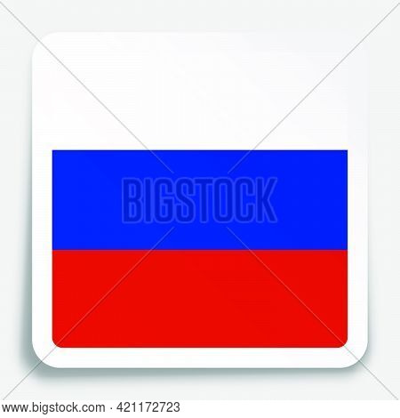 Russian Federation Flag Icon On Paper Square Sticker With Shadow. Button For Mobile Application Or W