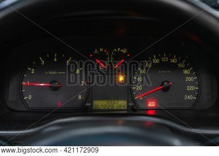Novosibirsk, Russia - May 16, 2021: Hyundai Sonata, Speedometer, Tachometer And Steering Wheel Speed