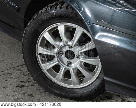 Novosibirsk, Russia - May 16, 2021: Hyundai Sonata, Close-up Of The Bumper, Alloy Wheel, Car Detaili