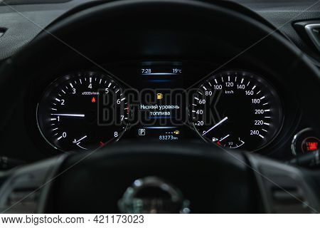 Novosibirsk, Russia - May 16, 2021: Nissan X-trail, Speedometer, Tachometer And Steering Wheel Speed
