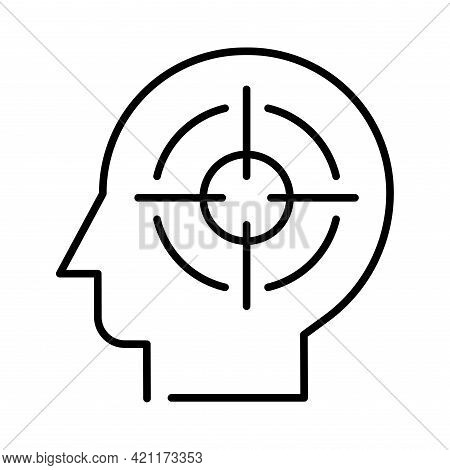 Monochrome Headhunting Icon Vector Illustration. Professional Recruiting, Hr Selection With Aiming