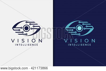 Abstract Digital Blue Eye Vision Logo Design. Usable For Business And Technology Brand. Vector Logo