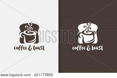 Abstract Toast And Coffee And Toast Bread Silhouette Combination Logo Design. Usable For Cafe, Food