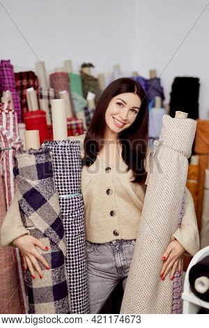 Entrepreneur, Business Woman, Owner Or Designer Concept. Smiling Young Designer Or Creative Occupati