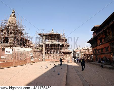 Nepalese Workers People Renovate Repair Ancient Ruins Antique Building Of Lalitpur Or Patan Bhaktapu