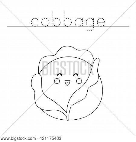 Trace The Word. Cute Kawaii Cabbage. Handwriting Practice For Preschool Kids.