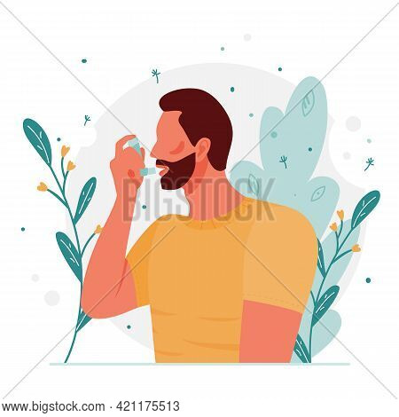 Man Uses An Asthma Inhaler Against An Allergic Attack. World Asthma Day. Allergy, Asthmatic. Concept