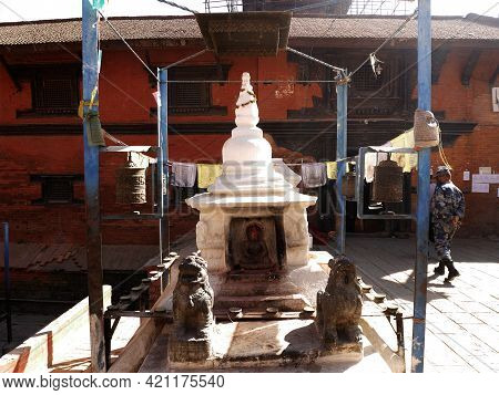 Small Shrine And Angel Deity God Buddha Statue For Nepali People And Foreign Travelers Travel Visit