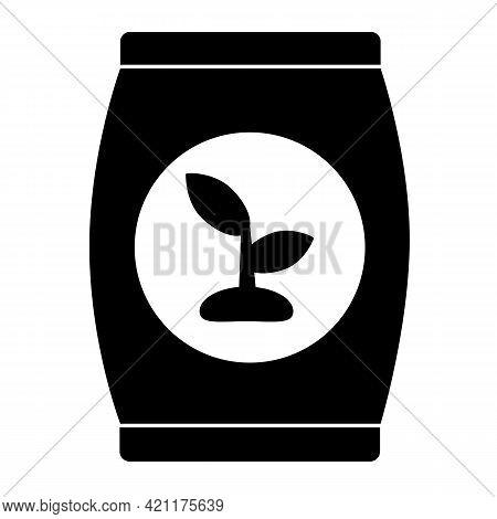 Fertilizer Icon On White Background. Plants Soil In Bag Sign. Fertilizer Bags Symbol. Flat Style.