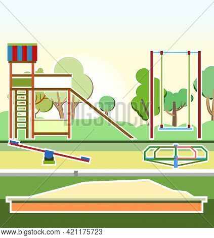 Playground In The Park. Swings, Slides And Carousels. Flat Cartoon Style Illustration. A Place For C