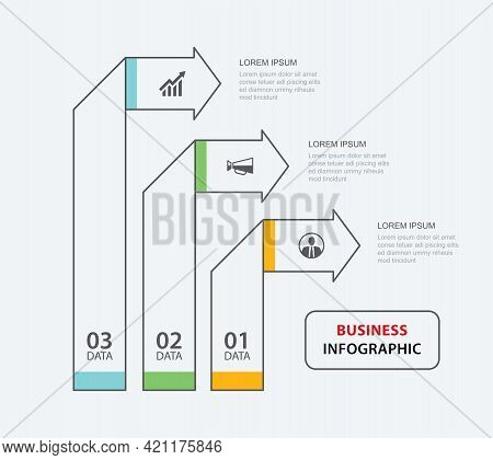 3 Data Infographics Tab Paper Thin Line Index Template. Vector Illustration Abstract Background. Can